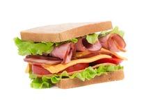 Sandwich appétissant avec du jambon et le fromage Images libres de droits