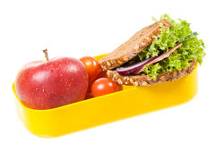 Sandwich with apple in box Stock Photos