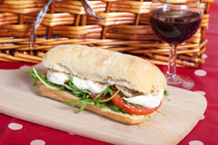 Sandwich with arugula, tomatoes and mozzarella Royalty Free Stock Photo