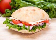 Sandwich au jambon coupé en tranches Image libre de droits