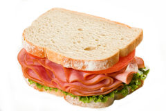 Sandwich au jambon d'isolement Images stock