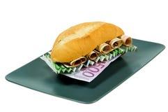 Sandwich avec de l'argent Photos libres de droits