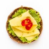 Sandwich avec de la laitue, fromage sur le fond blanc photos libres de droits