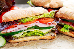 Sandwich avec de la laitue, tomates, concombre, oignon rouge, salami, jambon, fromage image stock