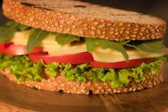 Sandwich avec de la viande fumée et le persil de fromage de salade image stock