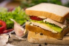Sandwich avec de la viande, le fromage et des légumes Image libre de droits