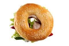 Sandwich avec de la viande, le poivre et la laitue Photo libre de droits