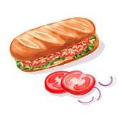 Sandwich avec des haricots blancs en sauce tomate en baguette avec des légumes illustration stock