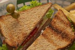 Sandwich avec des olives et des fritures Photo stock