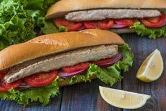 Sandwich avec des poissons Ekmek de Balik - aliments de préparation rapide turcs Photos libres de droits
