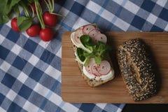 Sandwich avec du fromage de mozarella et le radis de tranches sur la planche à découper brune en bois Photos stock