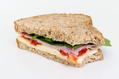 Sandwich avec du jambon et chese Photographie stock