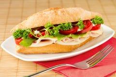 Sandwich avec du jambon et le fromage Photographie stock