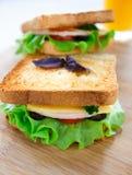 Sandwich avec du jambon, le fromage, les tomates et la laitue Images stock