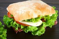 Sandwich avec du mozzarella, la tomate et la laitue Images stock