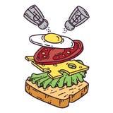Sandwich avec l'oeuf illustration de vecteur