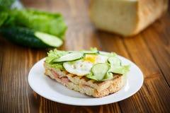 Sandwich avec la saucisse, le fromage, la laitue et les oeufs Photographie stock