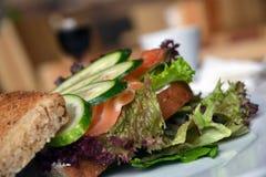 Sandwich avec le concombre, la salade et les tomates Photographie stock libre de droits