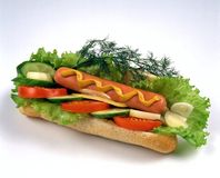 Sandwich avec le hot-dog Image libre de droits