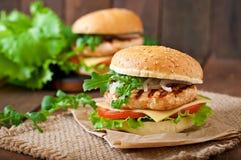 Sandwich avec le poulet Photographie stock libre de droits