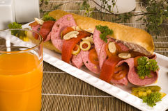 Sandwich avec le salami Photo libre de droits