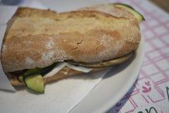 Sandwich avec les légumes et le fromage grillés de mozzarella image stock