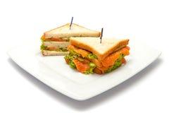 Sandwich avec les saumons et le concombre Photographie stock
