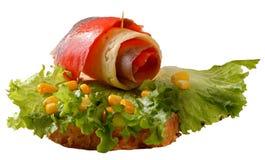 Sandwich avec les saumons et le fromage Photos libres de droits