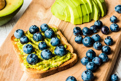 Sandwich with avocado and blueberry. healthy vegetarian food.  Stock Photography