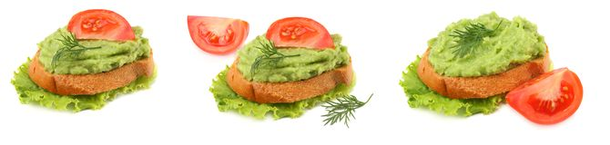 Sandwich with avocado cream isolated on white background. Healthy food royalty free stock image