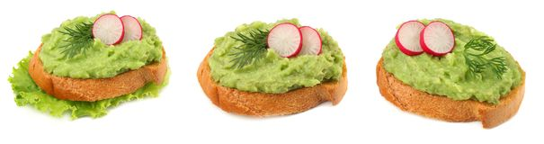 sandwich with avocado cream isolated on white background. Healthy food stock photo