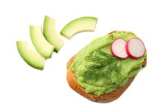 Sandwich with avocado cream isolated on white background. Healthy food royalty free stock photos