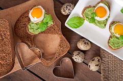Sandwich with avocado paste and egg Stock Photo