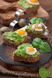Sandwich with avocado paste and egg Royalty Free Stock Photo