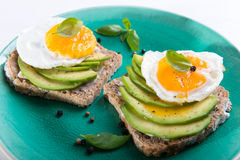 Sandwich with avocado slices and basil Royalty Free Stock Photo