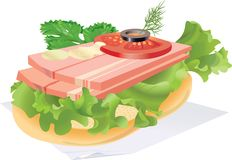 Sandwich with bacon. On a napkin. vector. illustration Royalty Free Stock Photos