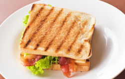 Sandwich. With bacon and cheese Stock Photos