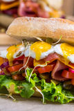 A sandwich with bacon, cheese and fried quail eggs. A sandwich with fresh vegetables and herbs on a wooden background. Royalty Free Stock Images