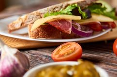 Sandwich with bacon, cheese, garlic, jalapeno pepper and herbs on a plate royalty free stock photography