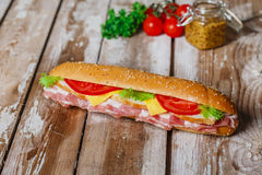 Sandwich with bacon and chicken Royalty Free Stock Images