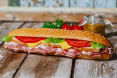 Sandwich with bacon and chicken Stock Photography
