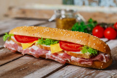 Sandwich with bacon and chicken Stock Image