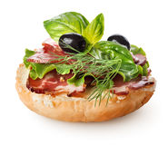 Sandwich with bacon and salad royalty free stock photos