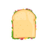 Sandwich with bacon top view. Sandwich vegetable with bacon and cheese top view. Vector illustration isolated on white background for web design or brochure Stock Photography