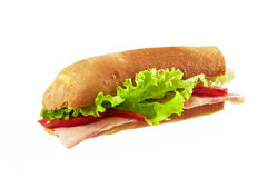 Sandwich with bacon and vegetables on white background Royalty Free Stock Image