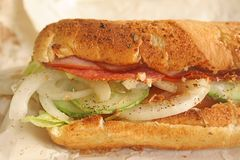 Sandwich Baguette Bread with Ham and Salami. Toasted and tasty royalty free stock photo