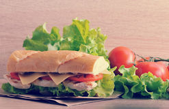 Sandwich baguette with chicken breast, cheese and tomatoes stock photos