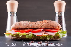 Sandwich baguette on table with salt and pepper Stock Image