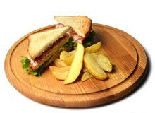 Sandwich with baked potatoes on a wooden board isolated on white background. Restaurated food. Fast food.  Stock Image