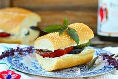 Sandwich with baked vegetables and cheese Royalty Free Stock Photos